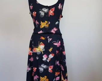 Unique Butterfly Dress || Size M / AU10 || Women Vintage 90s Dress || Peasant dress