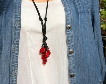 coral necklace, statment necklace, red coral necklace, gemstone jewerly, long necklace, free shipping
