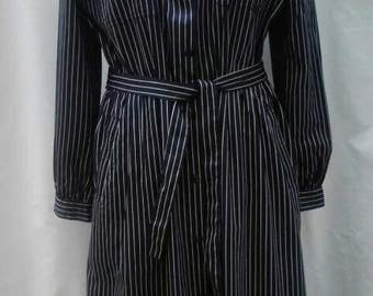 BURBERRYS vintage 80s navy blue and white pinstripe cotton shirtdress