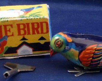 Vintage Blue Bird Wind Up Tin Toy, 1970s