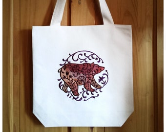 Brown Bear Tote Bag Embroidered Canvas - Ombre Brown Plum Purple Shopping Bag For Life, Boho Folk Art Grizzly Teacher Secret Santa Gift 3000