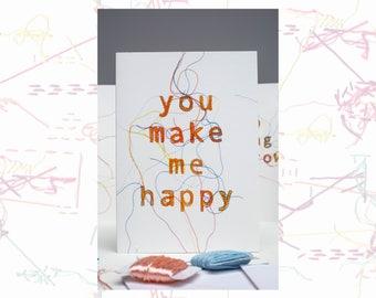 You Make Me Happy Greeting Card - Greeting Card - Love Card