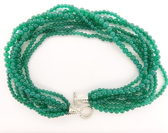 Tiffany Chrysoberyl Multi-Strand Torsade Necklace with Sterling Silver Clasp