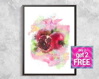 Pomegranate Watercolor Print, Pomegranate watercolor, Pomegranate Wall Art, Fruit Print, PomegranatePrintable , fruit print art Pomegranate