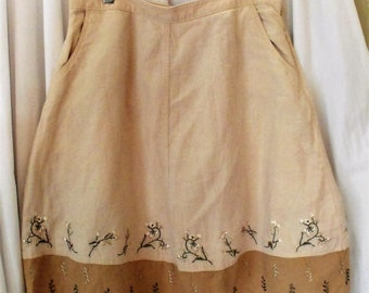 J.Jill Embroidered Skirt/ Linen Cotton Blend Retro M-L Skirt/ Shabbyfab Funwear