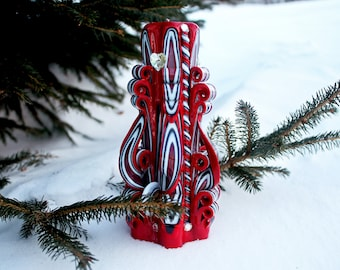 Red Candle. Red - Black Candle. Gift Candle. Unique Candle. Christmas Candle. Christmas Gift. Gift for Her.