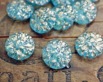 Glass Dahlia Bead Aqua with Gold Flower Bead Gold Fleck Beads Coin Shape 14mm (6)
