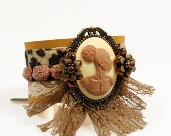 African leather cuff - brown with panther ribbon - unique bracelet with cameo of African women - bohemian style jewelry, handmade Catena