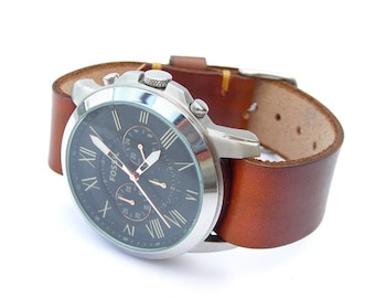 Slip through Leather watch strap band hand made Timex Weekender Brown 18mm 20mm 22mm with buckle
