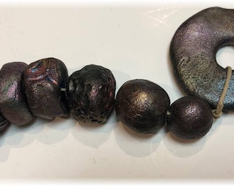10 Rustic Handmade Artisan Ceramic Beads plus 2 Disk Dangles in Metallic Purple, Teal, Blue, Copper, Gold for Jewelry and Mixed Media!