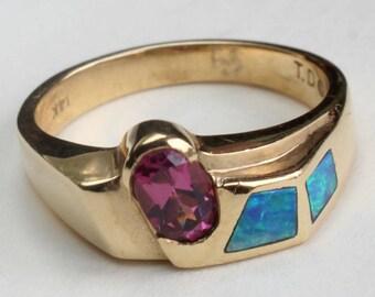 Opal Inlay Inlaid Ring Garnet Rhodolite Australian Opal 14k Gold