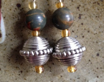 Jasper and silver ball dangle earrings