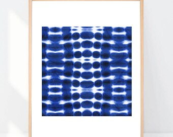 Graphic Print Indigo Blue Shibori 8x10 or 11x14 with Matting Options
