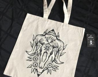 Hand Screened Ram Skull Canvas Tote Bag