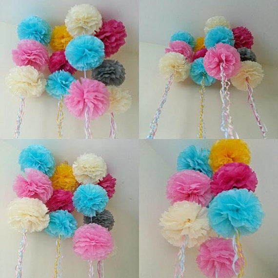 Wedding party baby shower hanging ceiling decorations tissue for Hanging pom poms from ceiling