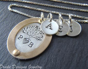 Hand stamped family tree necklace. Sterling silver personalized mom necklace with custom initial