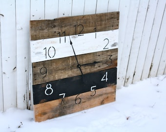 Large Reclaimed Wood Clock. 26 in by 26 in Black & White.  MODERN Industrial Chic.  Hip.  Pallet Wood Wall Clock. Home Decor.  Custom Color.