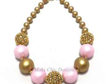Toddler or Girls Pink and Gold Chunky Necklace - Princess Chunky Necklace - First Birthday Pink Necklace - Girls Pink and Gold Necklace