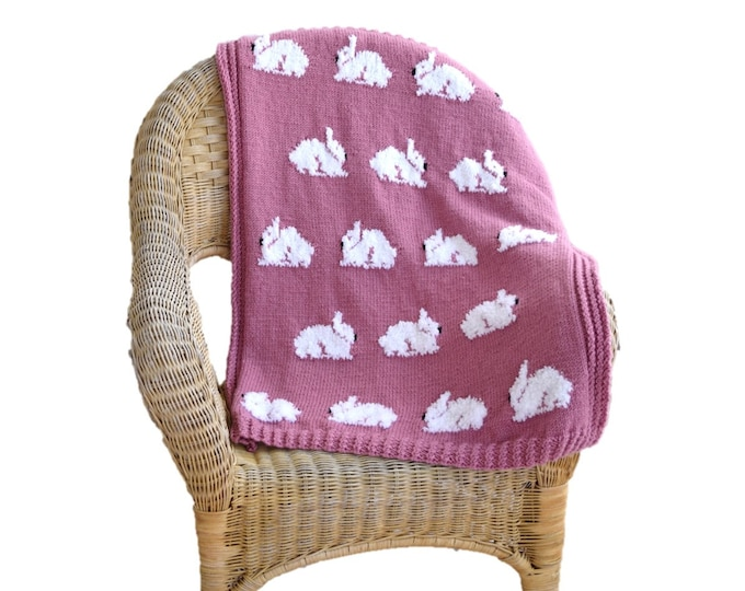 Rabbit Blanket Knitting Pattern, Throw Knitting Pattern with Bunnies, Rabbits Throw Knitting Pattern, Cosy Throw with Rabbits, Bunny throw