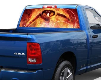 Devil in flame Rear Window Wrap Graphic Decal Sticker Truck SUV pick-up car