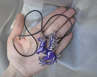 Cutie dragon pendant handmade from polymer clay