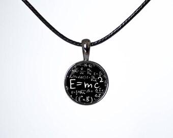 Relativity choker E=mc2 choker Mathematics Choker necklace Physics jewellery Emc2 pendant Black choker Chokers Leather cord Math choker Gift