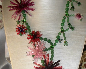 Necklace China aster: green jade and Crystal Svarovski