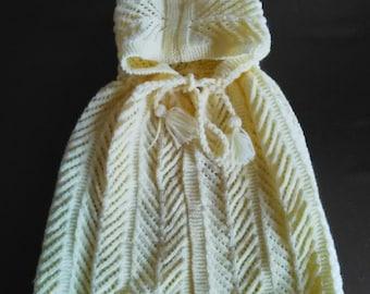 Yellow wool CAPE-BATHROBE made birth-6 months