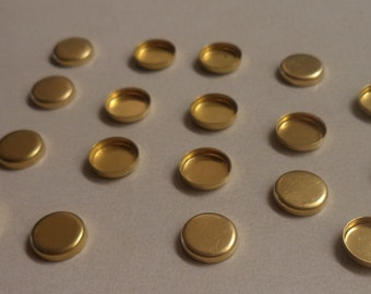 8mm brass round high wall closed back bezel cup settings 18 pc lot l X N