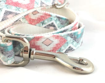 Pink Boho Dog leash - Boho aztec leash - boho dog leash - blue dog leash - Dog leash boho - Modern Dog leash - Pink leash for Girls