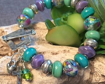 WALK BY FAITH, artisan lampwork, Hill Tribe and sterling silver bracelet
