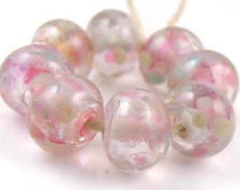 Trickster Swirls SRA Lampwork Handmade Artisan Glass Donut/Round Beads READY to SHIP Set of 8 8x12mm