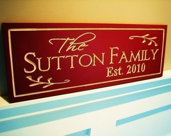 8x24 Carved Painted Personalized Family Name Sign Plaque