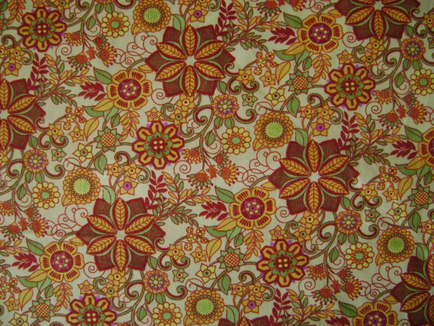 Garden Patch Multi Yellow Fabric sold by the yard