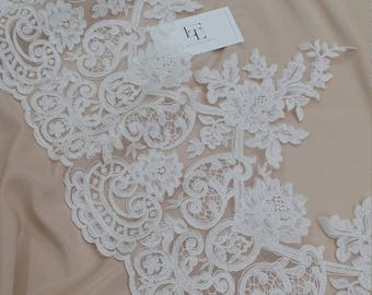 Ivory Lace Trimming, French Lace, Alencon Lace, Bridal Gown lace, Wedding Lace, White Lace, Veil lace, Garter lace Lingerie Lace EEV2105
