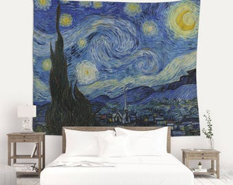 The Starry Night, Van Gogh, Wall Tapestry, Art Print, Painting on Fabric, Art Tapestry