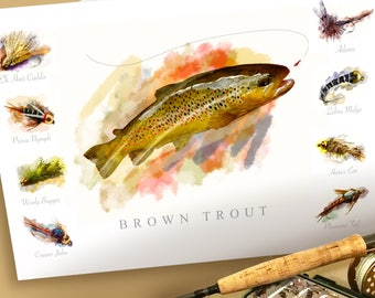 Brown Trout Fly Fishing and Flies Watercolor Poster Print 19 x 13