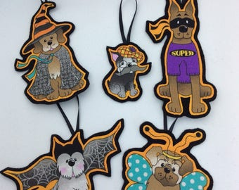 Halloween Costumed Dogs Fall Ornaments-Set of 5