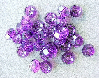 BEAD, Spacer, Swarovski, RONDELLE ,Amethyst, 6mm,  7 Pieces, Article 5040, Goth, medieval, Purple