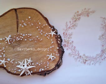 Mommy and Me crown Starfish crown Mermaid tiara gold Rose gold head crown Mommy and me headband Moonstone Headband Mom and daugther