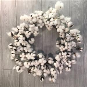 "26"" Natural Farmhouse Faux Cotton Wreath, Vintage Wreath, Home Decor, Door Decor"
