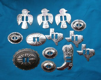 13 Southwestern Craft Conchos Oval Boot Bird and Texas Shaped Different Choncho Shapes