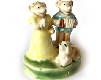 Mice Figurine, Two Mice and Dog Figurine, Love Mice Cake Topper, Mouse Couple Figurine, Mouse Couple Cake Topper, Accordion Mouse Figurine