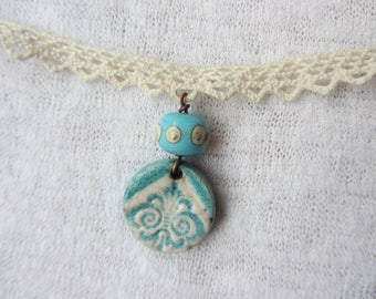 Necklace retro pendant ceramic raku ethnic pattern, Lampwork Glass rondelle and lace, ecru and blue turquoise, crafts