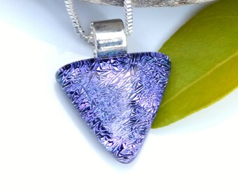 Petite Purple Dichroic Glass Pendant, Fused Glass Jewellery, Mauve Glass Necklace, Triangular Pendant, Birthday Gift, Best Friend Gift