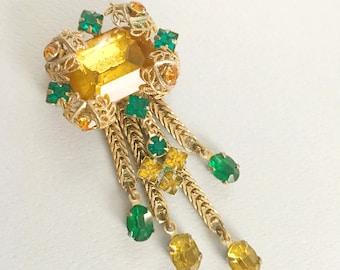 Art Nouveau Brooch Pin, Vintage Jewelry, Chunky Rhinestone Brooch, Gold Dangles, Art Nouveau Jewelry Vintage Rhinestone, Art Nuveau, Nouvau