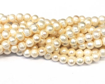 """SALE!! 9/8mm Big hole Pearls P6040, 10mm Fresh Water Pearls, 1 8"""" Strand, 2mm hole Pearl,  Genuine Pearls, Big hole Beads, Wholesale Beads"""