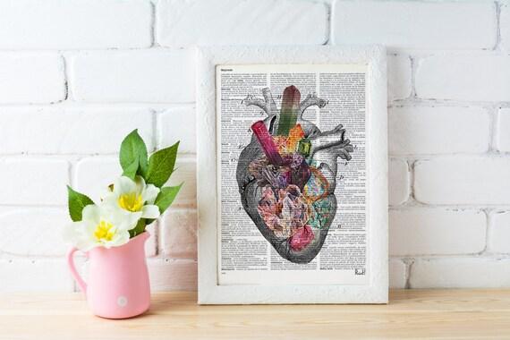Human heart, Minerals and stones heart. Anatomy art dictionary page Love gift Anatomy art, love wall human SKA116b