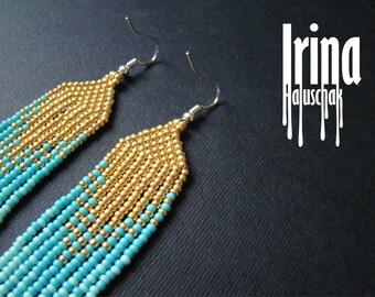 Beaded earrings, seed bead earrings, modern earrings, boho earrings, fringe earrings, beadwork jewelry, tribal earrings Chevron