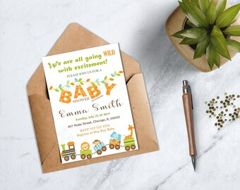 Safari Baby Shower Invitation, Jungle Baby Shower Invitation, Safari Animals Invitation, Gender Neutral Jungle Safari Baby Shower
